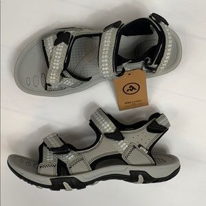 Atika Strap Athletic Sandals Open Toe Gray Beige